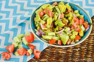 "Avocado, tomato, cucumber ""salsa"" salad"